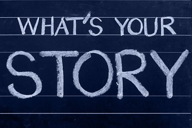 What's Your Story on chalkboard